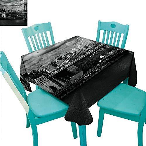 (New York Fabric Dust-Proof Table Cover Black and White Panorama of New York City Skyline with Focus on Manhattan Bridge Photo Runners,Gatsby Wedding,Glam Wedding Decor,Vintage Weddings 54