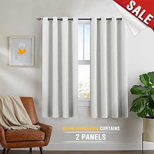 Greyish White Curtains 63 inch 2 Panels Bedroom Window Curtains Room Darkening Thermal Insulated Drapes Grommet Top Thermal Back Drapes