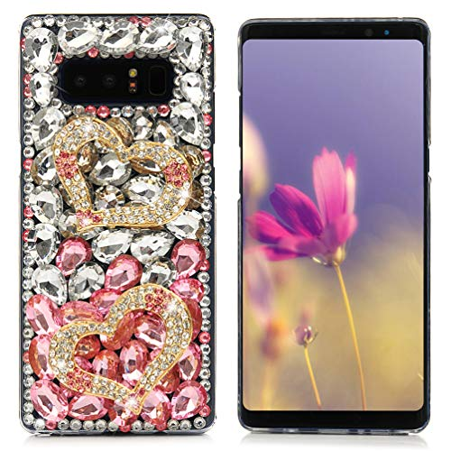 Case Bling Hard Plastic (Note 8 Case,Mavis's Diary Luxury 3D Handmade Bling Crystal Rhinestone Full Diamonds Golden Double Loving Heart Hard PC Plastic Clear Protective Cover for Samsung Galaxy Note 8)