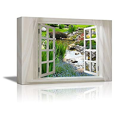 Glimpse into Beuatiful Clear Spring and Flowers Out of Open Window Canvas Wall Art Stretched Canvas Prints | Giclee Printing Ready to Hang - 24