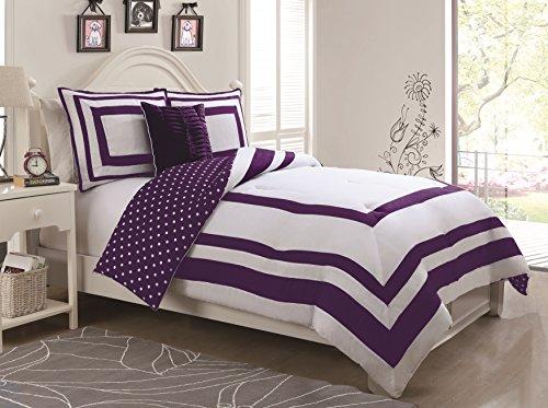 Geneva Home Fashion 3-Piece Hotel Juvenile Reversible Polka Dot Comforter Set, Twin, Purple