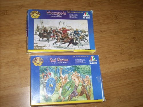 GAUL WARRIORS Italeri 6022 + MONGOLS GOLDEN HORDS Italeri 6020 - 1/72 Scale. Minor assembly required, detailed painting instructions. These sets come with a variety of figures and horses and (Accessories Cement Board)