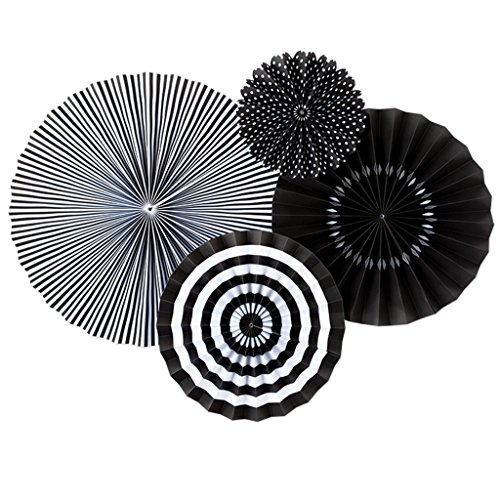 My Mind's Eye - Fancy Onyx Black Paper Party Fans - 4 Count - Decorations