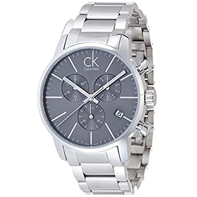 Calvin Klein Men's CK City Chronograph Dress Watch in Silver, K2G27143