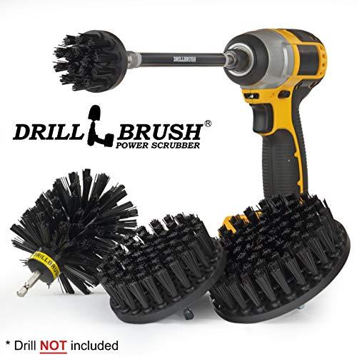 BBQ Accessories - Wire Brush Alternative Nylon Drill Brush Set with Extension - Hard Water, Calcium, Rust, Mineral Deposit and Stain Remover -BBQ Brush- Grill Scraper - Graffiti Eraser - Grill Brush