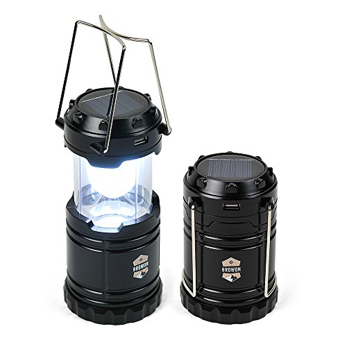 Best Camping Lantern Solar Rechargeable LED Light by Browon | Premium Grade Sturdy Materials | Portable, Bright, Collapsible, Lightweight | Perfect for Hiking Camping Backpacking Hunting Emergency