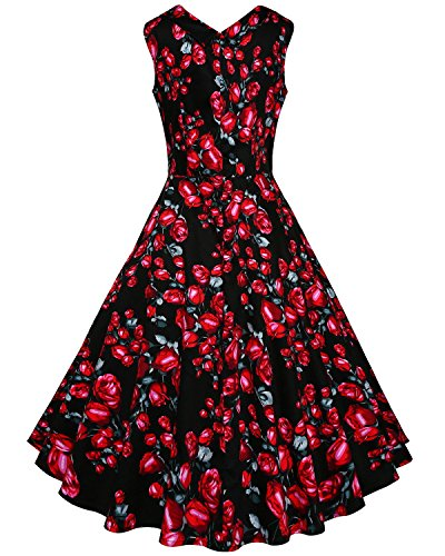 Party Audrey Vintage Multicoloured Rockabilly 1950s Hepburn Women's Dress Cocktail Polka Floral Swing DONWORD OIqExPRO
