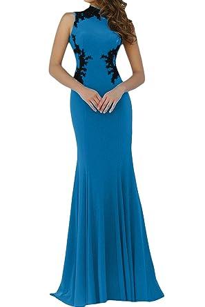 Ivydressing Damen Hochwertig Spitze Applikation Stehkragen Mermaid  Promkleid Partykleid Abendkleid: Amazon.de: Bekleidung