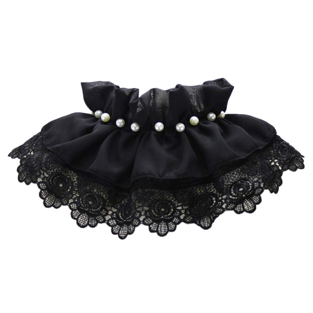 lotus.flower Retro Women Lace Pearl Lace Fake False Lapel Neck Collar Blouse Pan Collar (Black)