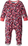 Joules Kids Baby Girl's All Over Printed Footie (Infant) Navy Oak Leaf 3-6 Months