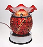 ELECTRIC TOUCH CONTROL TART BURNER OIL WARMER 5.5'' TALL RED MOSAIC STYLE DESIGN TOUCH CONTROL HAS 3 LEVELS TO INCREASE HEAT AND BRIGHTNESS!!!!!