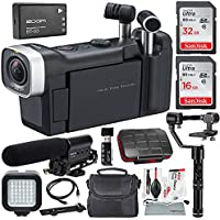 Zoom Q4n Handy Video Camera and Deluxe Filming Bundle w/ Shotgun Mic + LED Light + Gimbal Stabilizer + SD Cards, Reader +Aux Cable + Xpix SD Case, Cleaning Kit