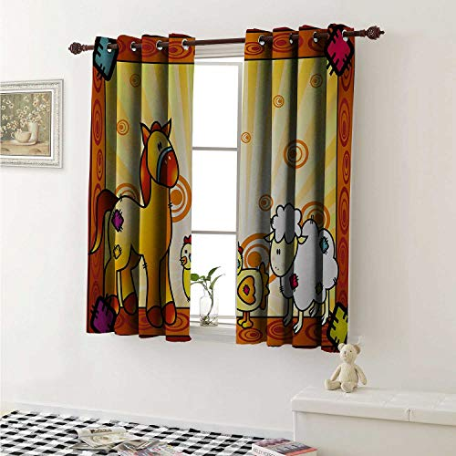 shenglv Kids Blackout Draperies for Bedroom Animal Friend Chicken Sheep and Horse with Patch Motif Zoo Joyful Cartoon Print Curtains Kitchen Valance W72 x L63 Inch Red Orange Yellow