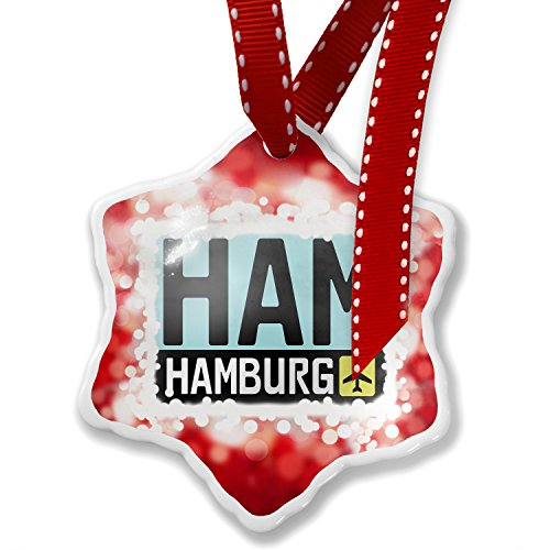 Germany Christmas Ornament - Christmas Ornament Airport code HAM / Hamburg country: Germany, red - Neonblond