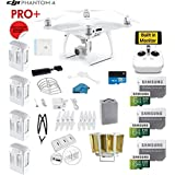 DJI Phantom 4 PRO Plus (Pro+) Drone with 1-inch 20MP 4K Camera KIT With Monitor + 4 Total DJI Batteries + 3 64GB SDXC Cards + Card Reader 3.0 + Prop Guards + Range Extender + Harness + Charging Hub
