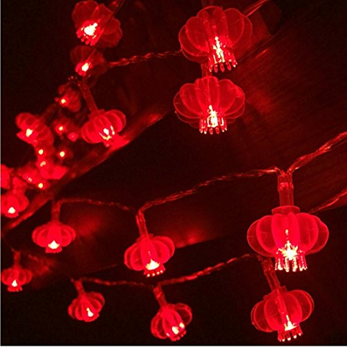 33ft/10M 80 LED Red Lanterns String Lights Battery Operated Fairy String Lights Wedding, Chinese New Year,Spring Festival,Party Decoration,Christmas.]()