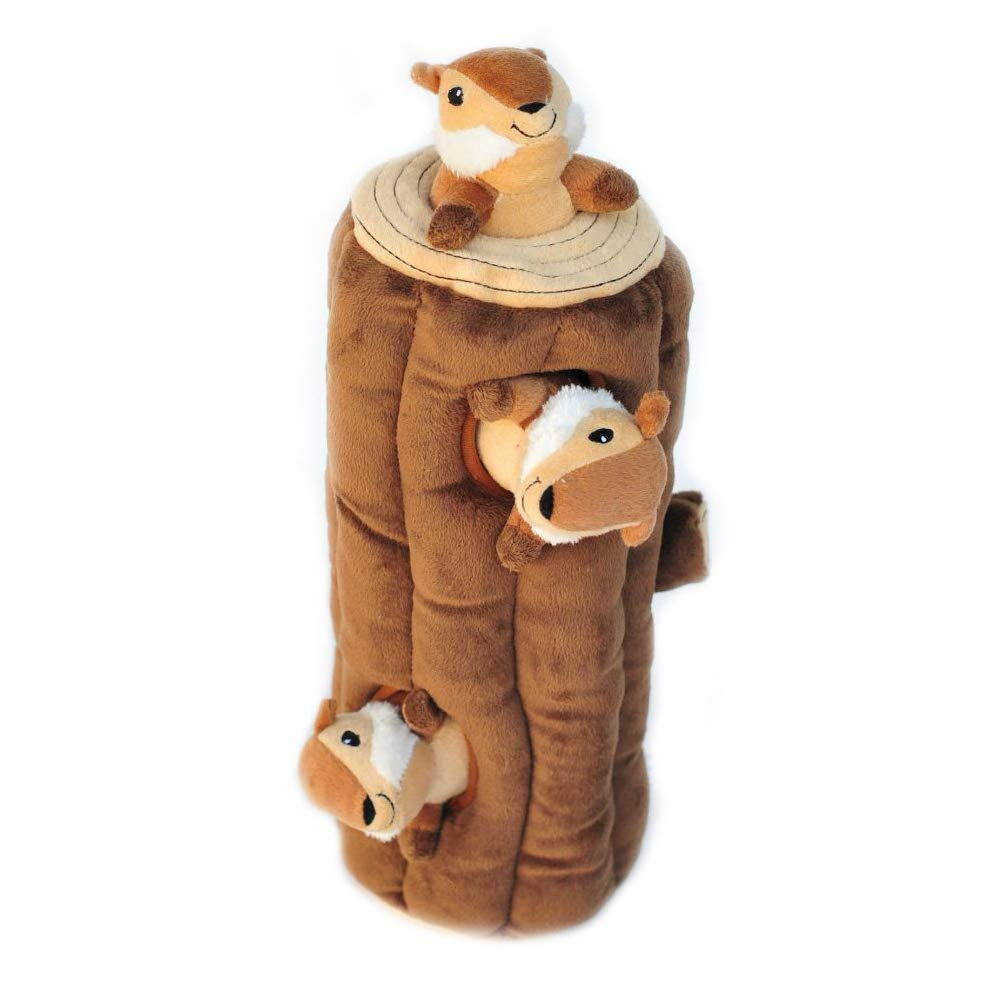 HideASquirrel and Puzzle Plush Squeaking Toys New Upgrade Experience Not The Same Fun with Three Pet Toys and A Cylinder for Pet Dogs Brown