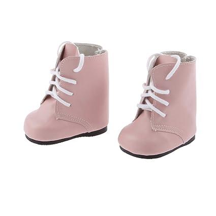 Botas Zapatos Fashion Princesa Encaje PU Martin para Muñecas Chicas Americanas 18 Pulgadas - Rosa