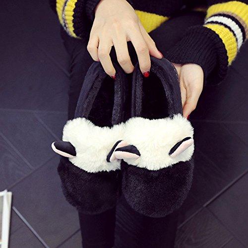 Y-Hui en el invierno Home Furnishing hembra zapatillas de algodón grueso algodón caliente botas de patinaje interior de invierno femenina zapatos zapatillas,38-39 (apto para 37-38 pies), Negro