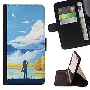 Momo Phone Case / Flip Funda de Cuero Case Cover - Chica En Las Montañas;;;;;;;; - Sony Xperia Z5 5.2 Inch (Not for Z5 Premium 5.5 Inch)