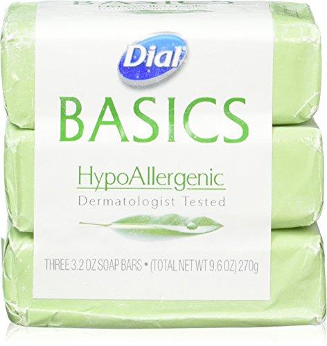 Back Dial - Dial Basics HypoAllergenic Dermatologist Tested Bar Soap, 3.2 oz (12 Bars)