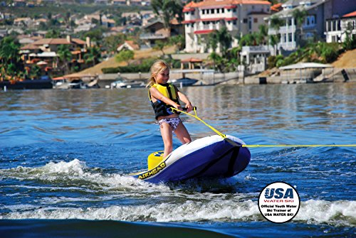 Airhead EZ Ski Inflatable Trainer Kids Single Skier Tube with Tow Rope & Pump ()