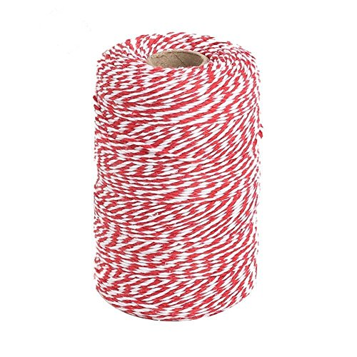 656 Feet Red and White Twine,Valentine Gift Twine String,Cotton Bakers Twine Cotton Cord Crafts Gift Twine String for Holiday