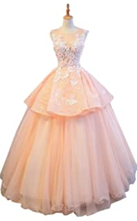 5f4a5f1714 Okaybrial Women s Cheap Quinceanera Gowns Sleeveless Lace Tulle High Low  Sheer Sexy Evening Gowns