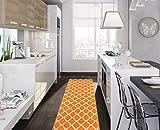 Ottomanson Glamour Collection Contemporary Moroccan Trellis Design Kids Lattice Area Rug (Non-Slip) Kitchen and Bathroom Mat Rug, 20'' X 59'', Orange