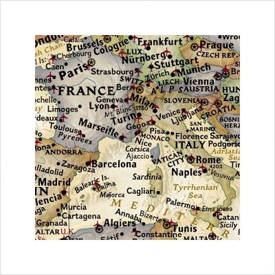 World Executive Map - Antique Tones (Two Sizes and Spanish Available) Map Type: Basic Size Tubed (30''H x 46''W)