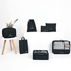AINAAN Travel Storage Bag / 7 pcs Set Luggage Organizer Packing Cubes,Compression Pouch, 2019, Black