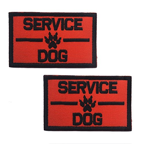 Ultrafun Service Dog Hook & Loop Fastening Tape Patch for Pet Harness Vest - 2 X 3 Inches - Set of 2 (Service Dog Orange)