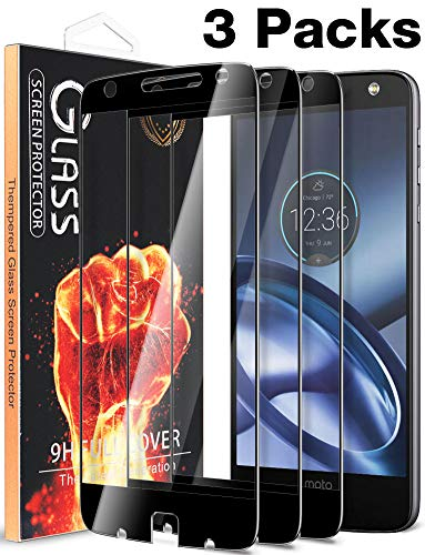 [3 Pack] Fnova Compatible Motorola Moto Z Force Droid Screen Protector Tempered Glass, Full Screen Coverage, 9H Anti Scratch, 2.5D Arc Edge, Bubble Free, Lifetime Replacement Warranty