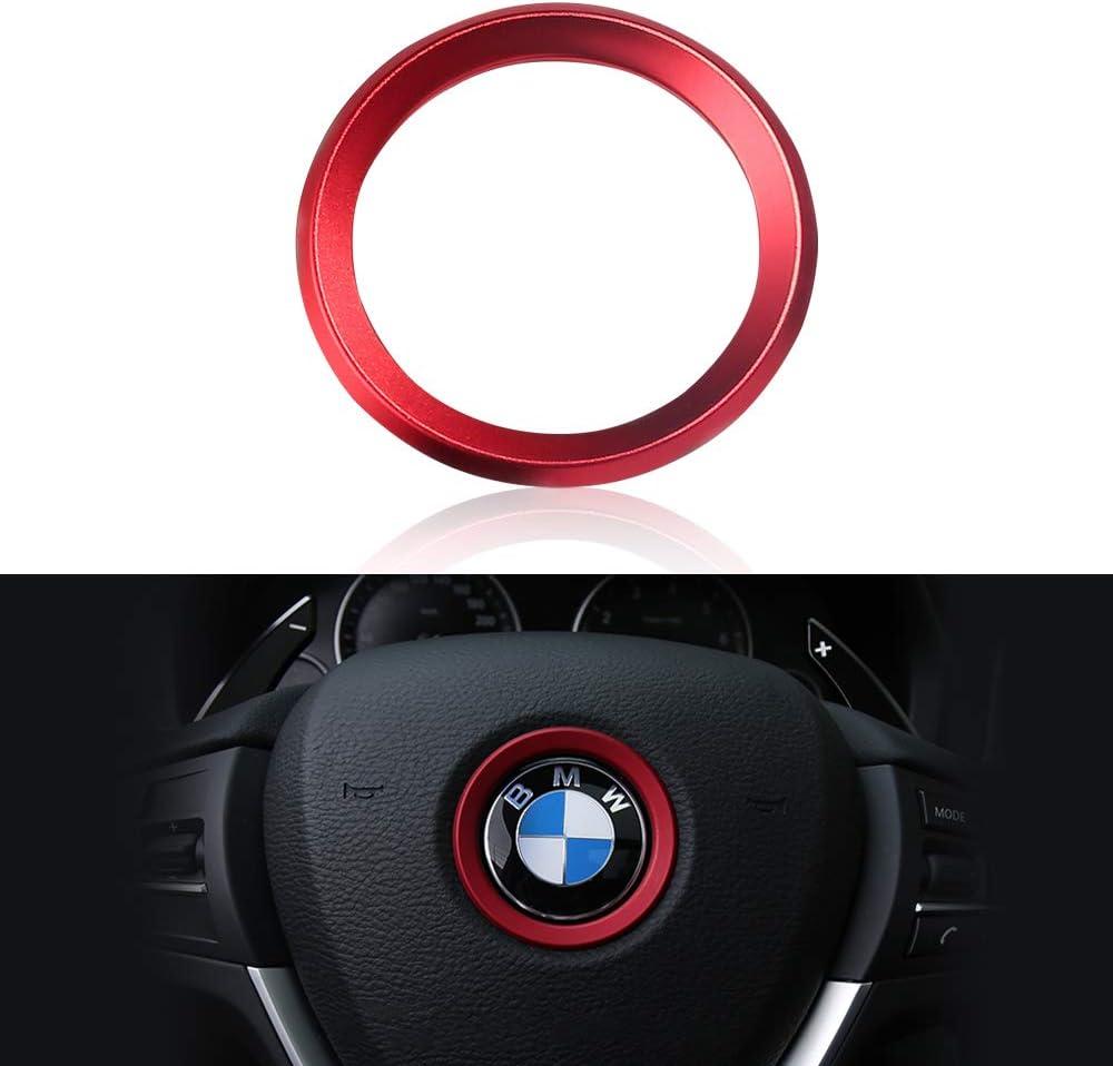 LECART Steering Wheel Emblem Badge Logo Cover Trim Circle Ring Center Decor Logo Decoration Interior Accessory for BMW 1 2 3 5 7 Series X1 X 3 X 5 X6 Z3 Z4 i3 i8 E30 E34 E36 E39 (Red)