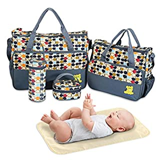 Diaper Bag Tote, Baby Bag for Baby Boy and Baby Girl, 5 Piece Set Baby Diaper Bag, for Mom and Dad