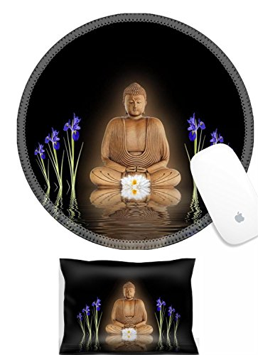 Luxlady Mouse Wrist Rest and Round Mousepad Set, 2pc Zen abstract of a buddha with glowing aura a white lotus lily and blue iris flowers with reflection over rippled water Over black backgrou ()