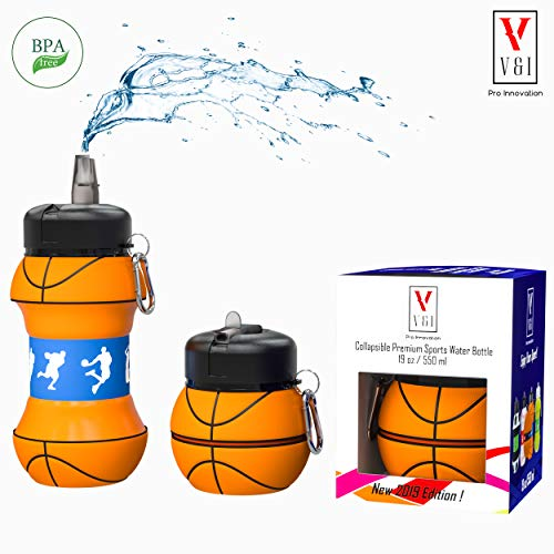 Sports Water Bottle Kids Scout Team Basketball Ball Shaped Design 19 oz Leak Proof Reusable Squeezable Collapsible Carabiner Hook Wide Mouth Lid Yoga Gym Cup Special Gift Box ()