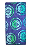 Superior Luxurious 100% Cotton Beach Towels, Oversized 34' x 64', Soft Velour Cotton and Absorbent Cotton Terry, Thick and Plush Geometric Beach Towels - Spin Wheels