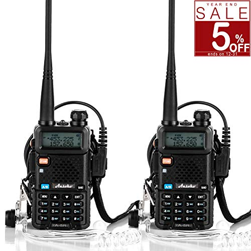 Ansoko Two Way Radio with Acoustic Tube Earpiece Dual Band walkie talkies VHF136-174/UHF400-520 MHz with FM Radio Reception (2 Pack)