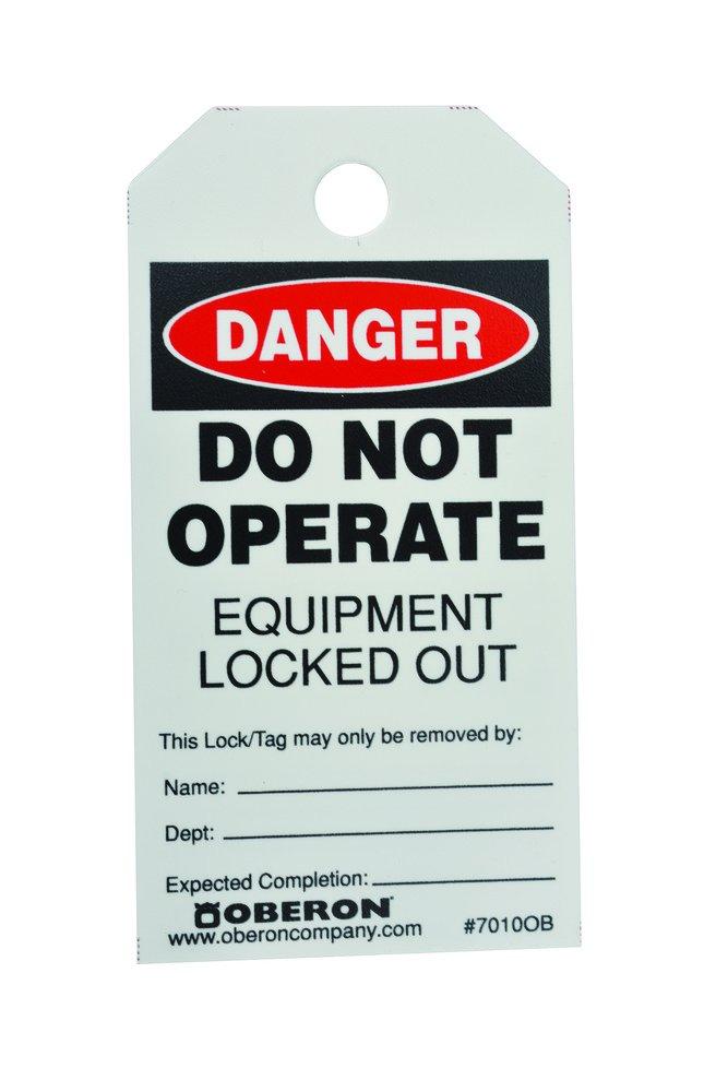 Oberon LOTOTAG-50 LOTO Warning Tags, Red/White/Black (Pack of 50)