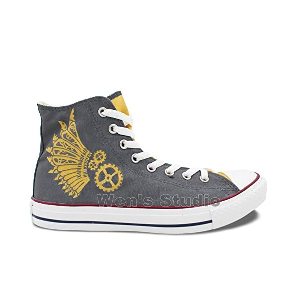 Wen Design Steampunk Hand Painted Shoes High Top Women and Men Canvas Sneakers 4