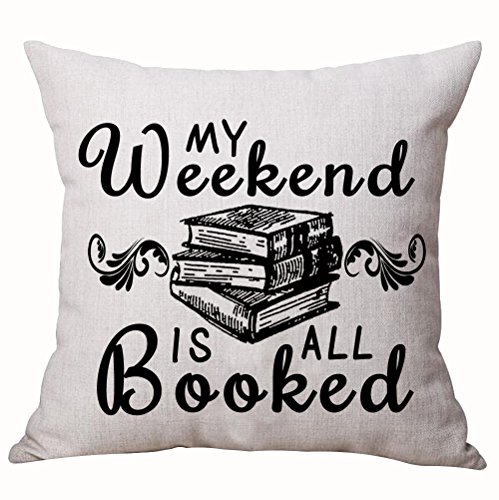 Book Lover Reading Book Club Black Letters My Weekend Is All Booked Cotton Linen Decorative Throw Pillow Case Cushion Cover Square 18  X18
