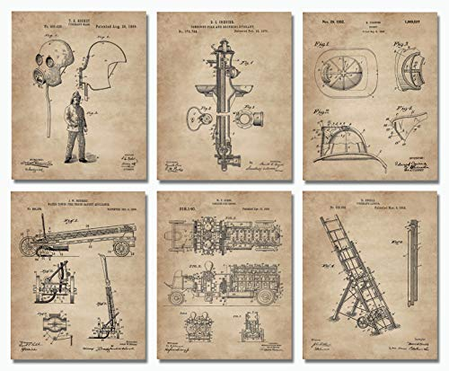 (Firefighter Gifts for Men - Patent Print Set of 6 (8