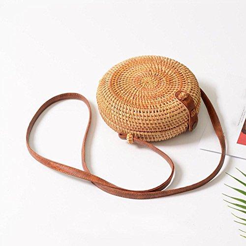 Paglia shop Circolare Tessuto Alla Donna Portaoggetti Mano Borsa Spiaggia Dog Organizzatore Tondo Vintage Moda Di Piccola Da A Huang Ménager Arco Rotondo Borsa x5FYqOwa