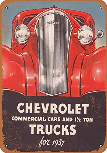 Wall-Color 10 x 14 Metal Sign - 1937 Chevrolet Commercial Cars and Tucks - Vintage Look