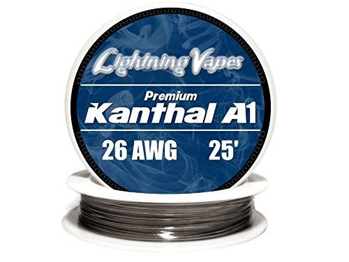 Genuine Lightning Vapes Kanthal 26 Gauge AWG A1 Wire 25ft Roll 0.40386 mm , 3.21 Ohms/ft Resistance