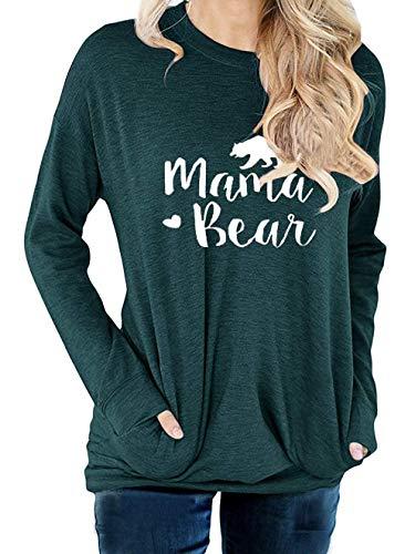 - DATANE Women's Crew Neck Mama Bear Printed Sweatshirt T Shirt Top with Pockets 6344-A-Green-X-Large