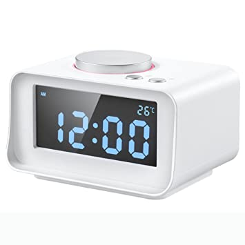 LOTOS Reloj De Alarma De Música Multi-Función Mini Dormitorio Reloj De Cabecera Pantalla LCD De Radio,White: Amazon.es: Hogar