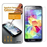 [Ultra Thin version] JOTO Samsung Galaxy S5 Premium Tempered Glass Screen Protector Guard (0.15mm thickness, Ultra Transparency, 8-9 H Hardness, Extreme Sensitivity Touch, Anti-smudge, Bubble-free apply) Real Glass Screen Protector film exclusive for Galaxy S5 2014 SM-G900 (1 Pack)