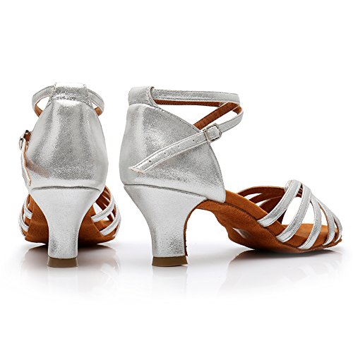 Salón Alta 5cm para Zapatos Plateado Mujer de de LP Baile de de 217 de Baile Latino Zapatillas Calidad Satén HROYL UxcpIqRW7